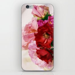 Red pink roses wedding bouquet - floral photogrpaphy iPhone Skin