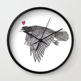 Crow Flies Around With Something On His Mind Wall Clock