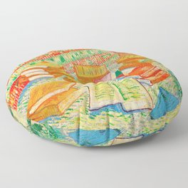 Van Gogh Still Life with French Novels Floor Pillow
