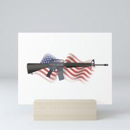 M16 Rifle with US Flag Mini Art Print