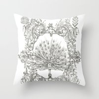 military Throw Pillows featuring Military Peacock by Vicki Jones