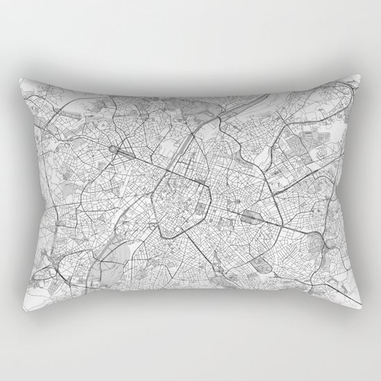 Brussels Map Line Rectangular Pillow