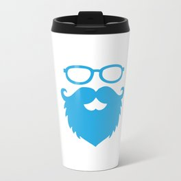 Hipster Beard Blue Metal Travel Mug