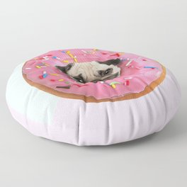 Pug Strawberry Donut Floor Pillow