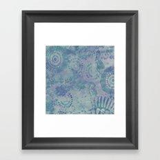 Relaxing Blues anfd Purples flower pattern Framed Art Print