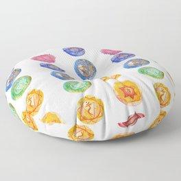 Seven Chakra alligned Watercolor art Floor Pillow