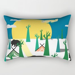 Bears in the forest and an airplane Rectangular Pillow