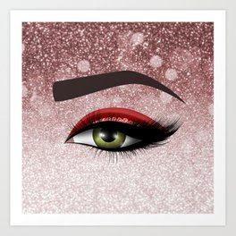 Glam diamond lashes eye #2 Art Print