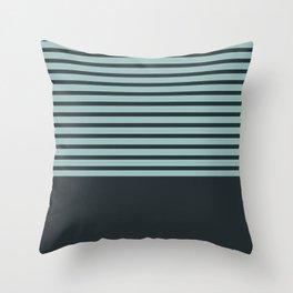 Navy stripes on turquoise Throw Pillow