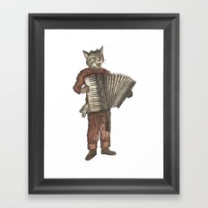 Accordion Cat with Goggles and Mask Framed Art Print