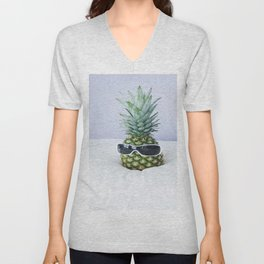 Pineapple With Sunglasses Unisex V-Neck