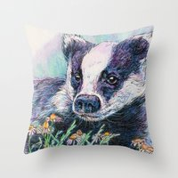 badger Throw Pillows featuring Badger by Sarah Jane Bradley