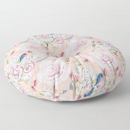 Watercolor Roses and Blush French Script Floor Pillow