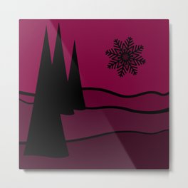 Mulled Berry Wine Snow Flake and Trees Metal Print