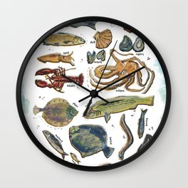 fishes and seafood Wall Clock