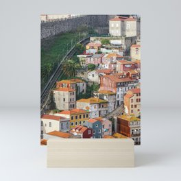 View of traditional Porto houses, with Guindais Funicular and Fernandina Wall on left. Mini Art Print