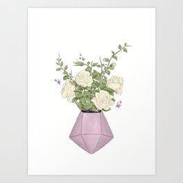 Gemstone Flowers   Digital Artwork Art Print