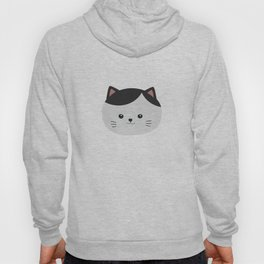 Cat with white fur and black hair Hoody