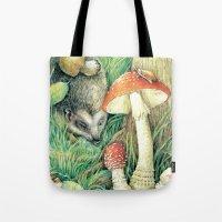 mushrooms Tote Bags featuring Mushrooms by Natalie Berman