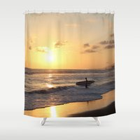 surfer Shower Curtains featuring Sundown Surfer by kelly*n photography