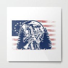 Distressed Minuteman Patriot Soldier 13 Star Flag Metal Print