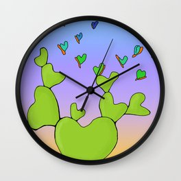 Butterfly Evolving Heart Cactus Wall Clock
