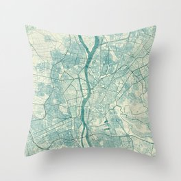 Cairo Map Blue Vintage Throw Pillow