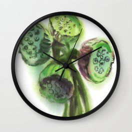 bouquet of lotus pods, watercolor sketch from nature Wall Clock