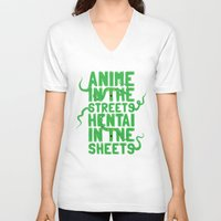 hentai V-neck T-shirts featuring Anime in the streets hentai in the sheets by BomDesignz