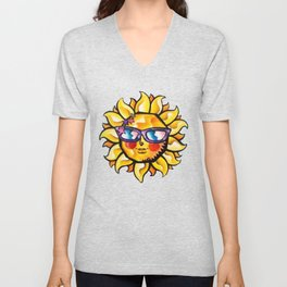 Colorful Tropical Sun with Sunglasses Unisex V-Neck