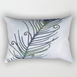 Watercolor Peacock Feather Rectangular Pillow