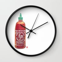sriracha Wall Clocks featuring Sriracha Hot Sauce by Connie Luebbert