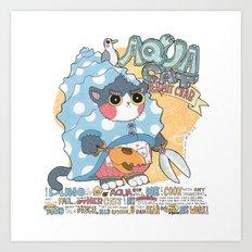 Aqua cat_Puno Art Print