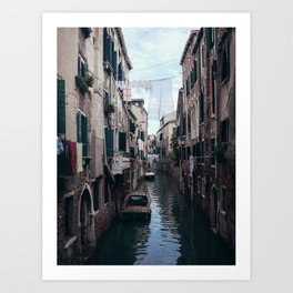 Cosy life, city scene in the Venice canals Art Print