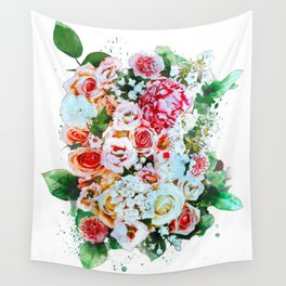 Rose Flower Bouquet Watercolor Wall Tapestry