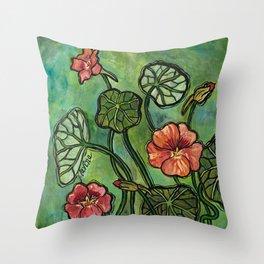 In the Garden ~ Nasturtium Throw Pillow
