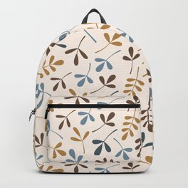 Assorted Leaf Silhouettes Blues Brown Gold Cream Backpack