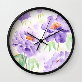 Watercolor Blue Peony flowers Wall Clock