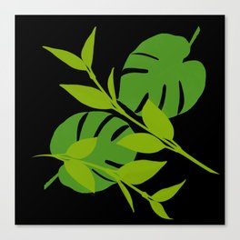 Simply Tropical Leaves with Black Background Canvas Print