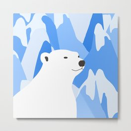 Polar Bear In The Cold Design Metal Print