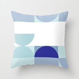 Minimal Bauhaus Semi Circle Geometric Pattern 3 - Blue #buyart #society6 #minimalart Throw Pillow