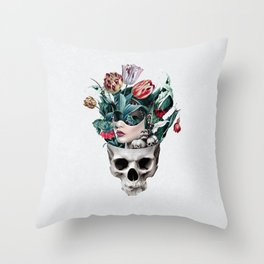Skull Girl Throw Pillow