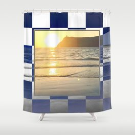 Port Erin - check graphic Shower Curtain