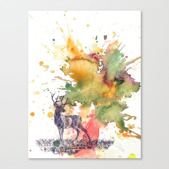Buck Deer in Splash of Color Canvas Print