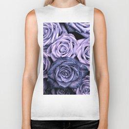 PURPLE ROSES floral flowers violet Biker Tank