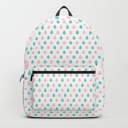 Teal blue and coral pink raindrops Backpack
