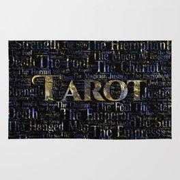 Tarot Major Arcana Word Art  Gold and Gemstone Rug