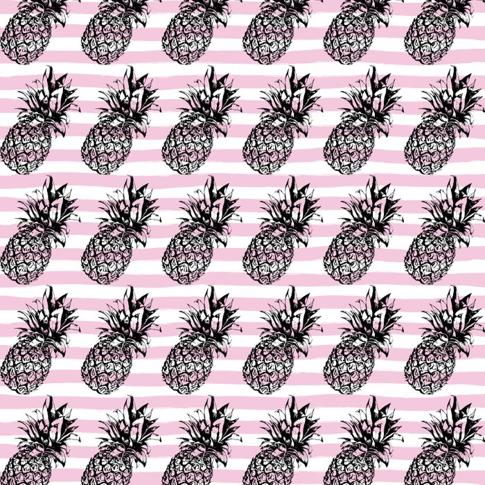 Pink Striped Pineapple Pattern Duvet Cover