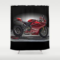 ducati Shower Curtains featuring Ducati 1199 Panigale R by Elias Silva Photography