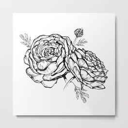 Hand-drawn ranunculus flowers Metal Print